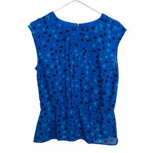 Halogen blue sleeveless pleated blouse